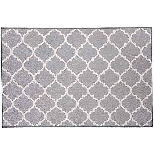RUGGABLE Washable Stain Resistant Indoor/Outdoor, Kids, Pets, and Dog Friendly Accent Rug, 3'x5', Moroccan Trellis Light Grey