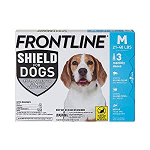 FRONTLINE Shield for Dogs Flea & Tick Treatment, 21-40 lbs, 3ct