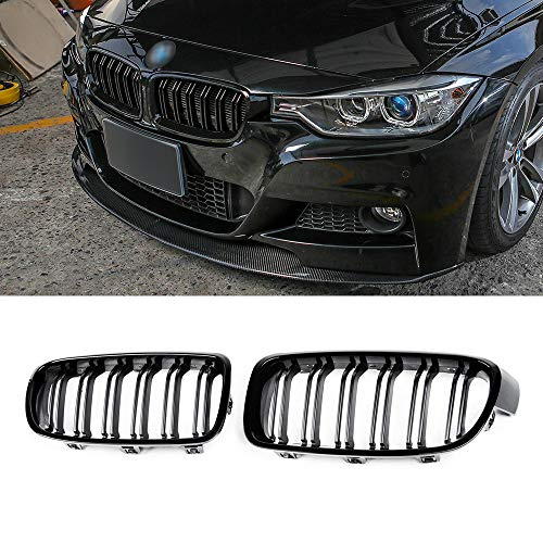 SNA ABS F30 Grill, Front Kidney Grille for 2012-2018 BMW 3 Series F30 F31 (Double Slats Gloss Black Grills, 2-pc Set)