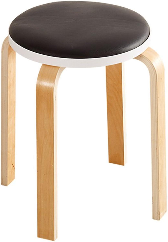 YQQ Chair Wood + PU Diameter 32CM  High 45CM Purple, Brown, Green, Yellow, bluee, Black, Red (color   Black)