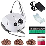 30000 RPM Acrylic Electric Nail Drill File Pedicure Manicure Machine Drill Bits Kit Set with Sanding Bands Accessories E File to Remover Acrylic Gel Polisher Tools(White)