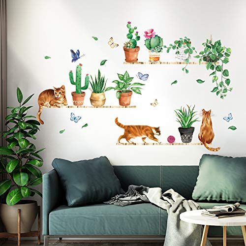 decalmile Adesivi Murali Acquerello Cactus Verde Adesivi da Parete Gatto con Piante Decorazione Murale Soggiorno Camera da Letto Cucina