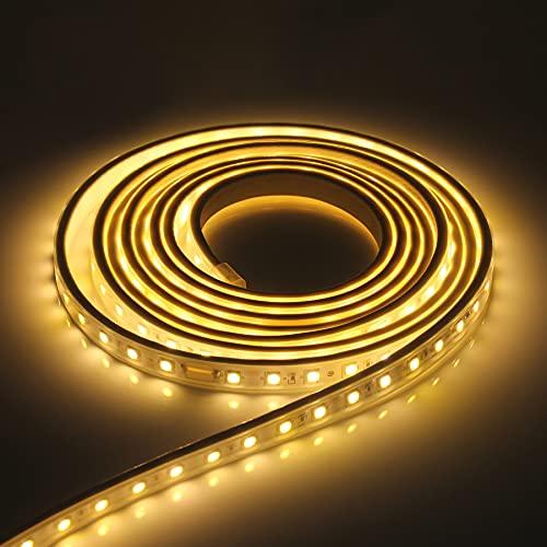 Kefflum LED Streifen LED Stripes LED Lichtband IP65 5050 LED Band 230V 60 LEDs/M 6M Warmweiß für von Haus, Küche, Garten [Energieklasse A+++]