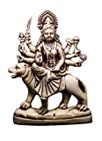 Amazing India Hand Carved Hindu Goddess Durga Statue Resin Idol Sculpture 7 Inches X 5 Inches White
