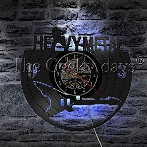 Nachtlicht Retro Heavy Metal Musik Vinyl LED von hinten beleuchtete Wanduhr Rockmusik Band Gitarre Dekoration Lampe Wanduhr mittelalterliche Tischlampe