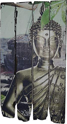 elbmöbel Wandbild Buddha Yoga Holz Holzbild Schild Bild 60cm Druck bunt Leinwand (bunt)