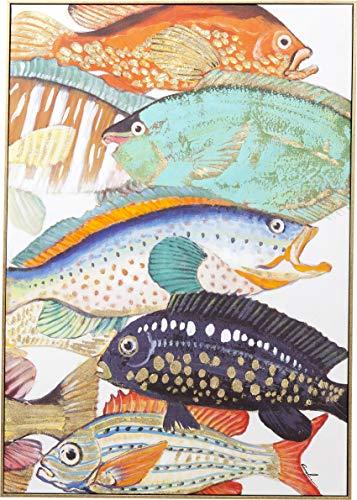 Kare Design Bild Touched Fish Meeting Two, 100x75cm, buntes Bild mit Motiv, bunte Fische, teilweise handbemalt, in weiteren Ausführungen erhältlich