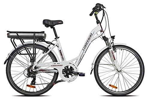 TORPADO Bici elettrica afrodite 26'' Motore brushless mozzo Post 6v Bianco...
