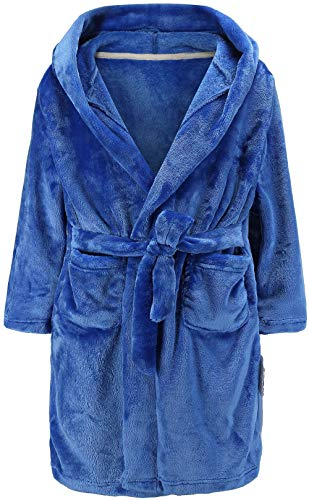 LLXX Kinder Bademäntel für Mädchen Jungen, Baby Kleinkind Robe Mit Kapuze Flanell Bademantel Pyjamas Nachtwäsche für Mädchen Jungen (Blau, 5T / Höhe120cm)