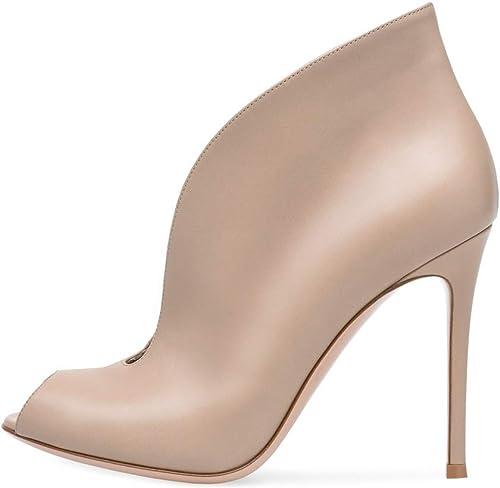 HNbottes Femmes Cheville Bottes Talon Aiguille Talon Sandale Noir Rouge Mariage Soirée Abricot Cuir Haute Talons Chaussures