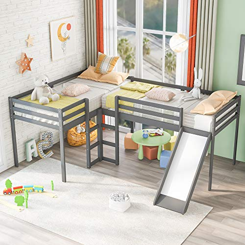 Merax Solid Wood Twin Size L-Shaped Loft Bed with Ladders and Slide for 2 Kids, Gray