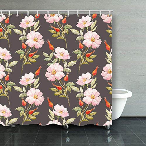 BGNHG Cortina de la Ducha Shower Curtain Watercolor Floral Pattern Dog