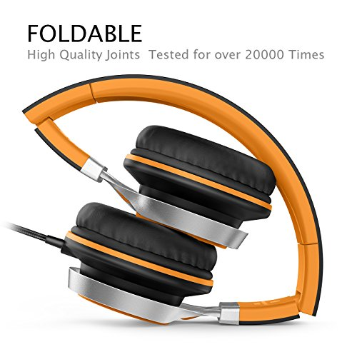 AILIHEN C8 Kopfhörer mit Kabel Mikrofon und Lautstärkeregler Faltbar 3,5mm Headsets On-Ear für Smartphones PC Laptop (Orange)