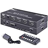 HDMI 2.0 Switch with 7.1 Audio Out, Tendak 4 Ports HDMI Switcher Box with Optical Toslink SPDIF + L/R 3.5mm Stereo Audio Include IR Remote Support ARC 4K@60HZ 3D for PS4/ Roku/Xbox One