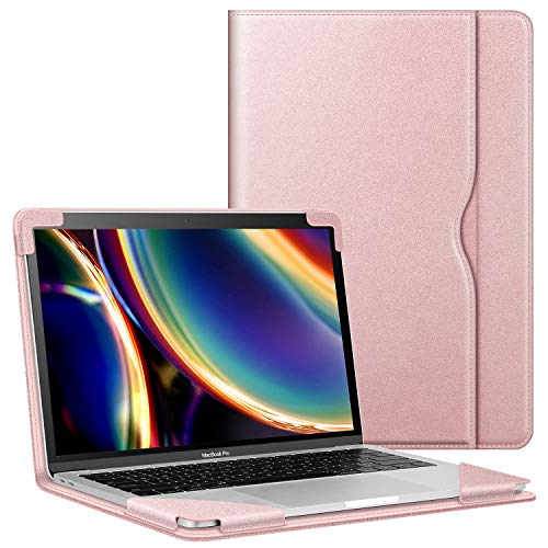 FINTIE Coque pour MacBook Air 13.3 A2337 (M1) / MacBook Air 13 (2018-2020) A1932 A2179 / MacBook Pro 13 (2016-2020) - Housse de Protection avec Poche Etui de Qualité Haute Anti-Choc, Or Rose