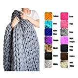 EASTSURE Chunky Knit Blanket Bulky Sofa Throw Hand-Made Pet Bed Chair Mat Rug,Grey,47'x71'