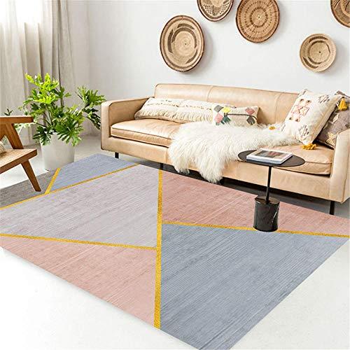 cuadros decoracion salon grandes alfombras infantiles Alfombra del dormitorio de la sala de estar azul rosa resistente a las manchas, lavable a máquina cuadros cabecero cama matrimonio 120X160CM 3ft 1