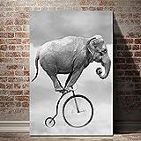 Leinwand Malerei Elefanten Auf Rädern Hd Tapete Poster Wandkunst Für Kinderzimmer Dekoration (Kein rahmen) 50x70 CM
