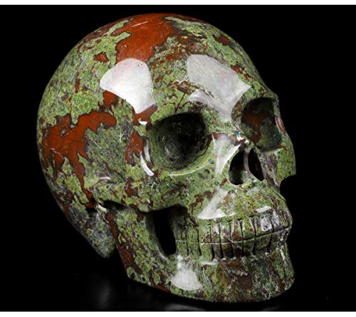 Skullis 5.0' Dragon Blood Jasper Crystal Skull, Hand Carved Gemstone Fine Art Sculpture, Reiki Healing Stone Statue