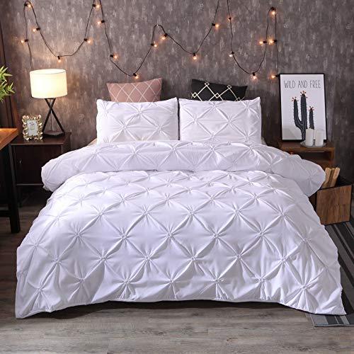 Funda nórdica con fundas de almohada – Flores elásticas – Juego de cama para 2 personas con cremallera – Juego de funda nórdica de microfibra (blanco, 135 x 200 cm)