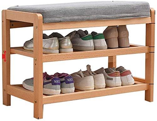 Zapatero Banco de Madera del Zapato 2-Capa sólida de Almacenamiento en Rack de Altura Ajustable Asiento tapizado 150 kg Pasillo Dormitorio Locker Carga de Peso
