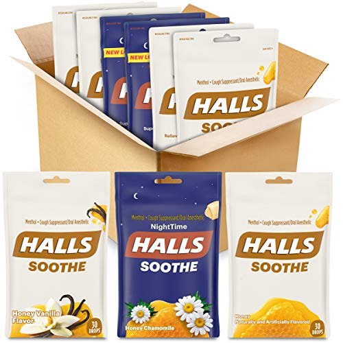 HALLS Soothe Variety Pack Honey Vanilla, Honey Chamomile NightTime and Honey Cough Drops, 6 Pack - 170 Total Drops