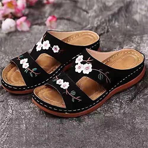 HEHUO Femmes Sandales Pantoufle DéContracté Confort RéGlable Fleur éPissures Croix GlissièRe Anti-DéRapant OrthopéDique Licou Sandales pour Chaussures 39 Black(NAUXIU)