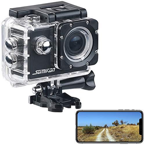 Somikon Unterwasserkamera: UHD-Action-Cam DV-3717 mit WLAN, Marken-Bildsensor und App, IPX8 (Action Camera)