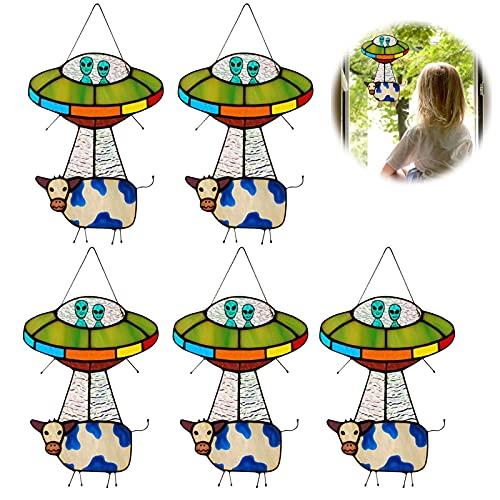 UFO Alien Cow Pendant,Alien Cow Stained Glass Suncatcher Window Panel, UFO Cow Abduction Pendant Suncatcher,Home Doors Garden Decoration (5pcs)