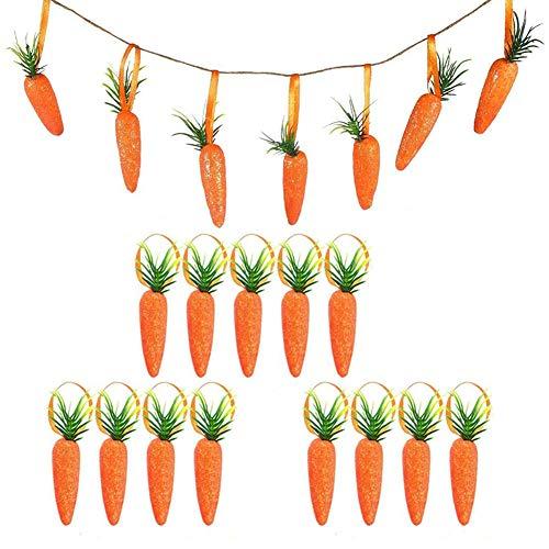 20 x Zanahoria de Pascua, Mini zanahoria Artificial de Pascua, Adornos Colgantes para Manualidades DIY Decoración Navideña para Fiestas en Casa