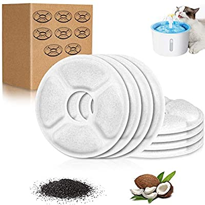 Cat Water Fountain Filters, 8 Pack Replacement Carbon Filters for Pet Fountain, Fountain Filter Triple Action Automatic for Cats, Dogs, Multiple Pets