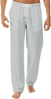 waitFOR Men Summer Cotton Linen Trousers Loose Solid Color Long Pants Comfortable Wide Leg Lightweight Sport Trousers Draw...
