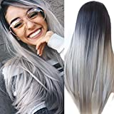 ATAYOU-WIG 2 tonos de variación de color longitud media larga sintéticas pelucas mujer...