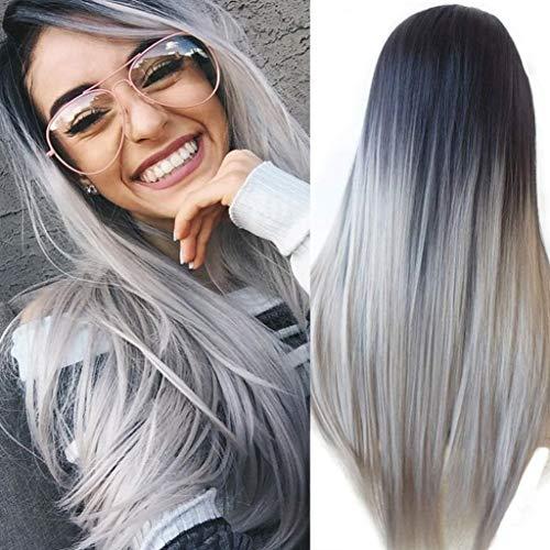 ATAYOU ® Schwarz zu Grau Ombre Länge Glatt Haar Volle synthetische Perücke