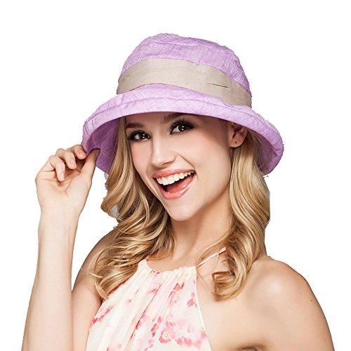 Yimidear Damen Sommer Strand Hat Eimer Hut Fedorahüte großer Rand-Anti-UV Sonnenhut Faltbarer Sonnenhut (Purple)