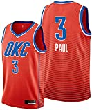 Men's Trail T-Shirt Thunder Paul 3# Jersey Chris Youth Icon Edition Swingman Jersey Short Sleeve Sport Top,Red,X-Large