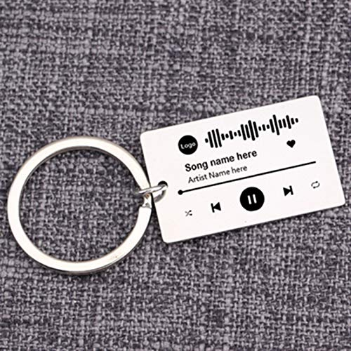 JSJJARF Keychain Spotify Code Keychain Custom Favorite Song Keyring Music Teacher Boyfriend Girlfriend Gift Music Lover Key Holder gifts (Color : Sliver)