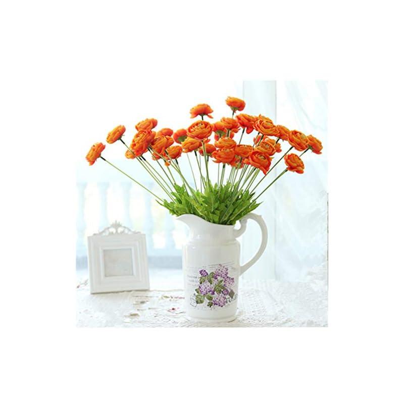 silk flower arrangements mynse 6 pieces 4 flower head artificial lu lian flowers silk ranunculus flowers for home balcony decoration (orange)