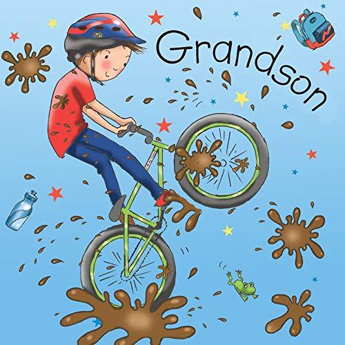 Twizler Geburtstagskarte für Enkel mit Mountainbike - Enkelsohn Geburtstagskarte - Kindergeburtstagskarte - Geburtstagskarte für Jungen - Geburtstagskarte für Enkel - Enkelsohn Geschenke