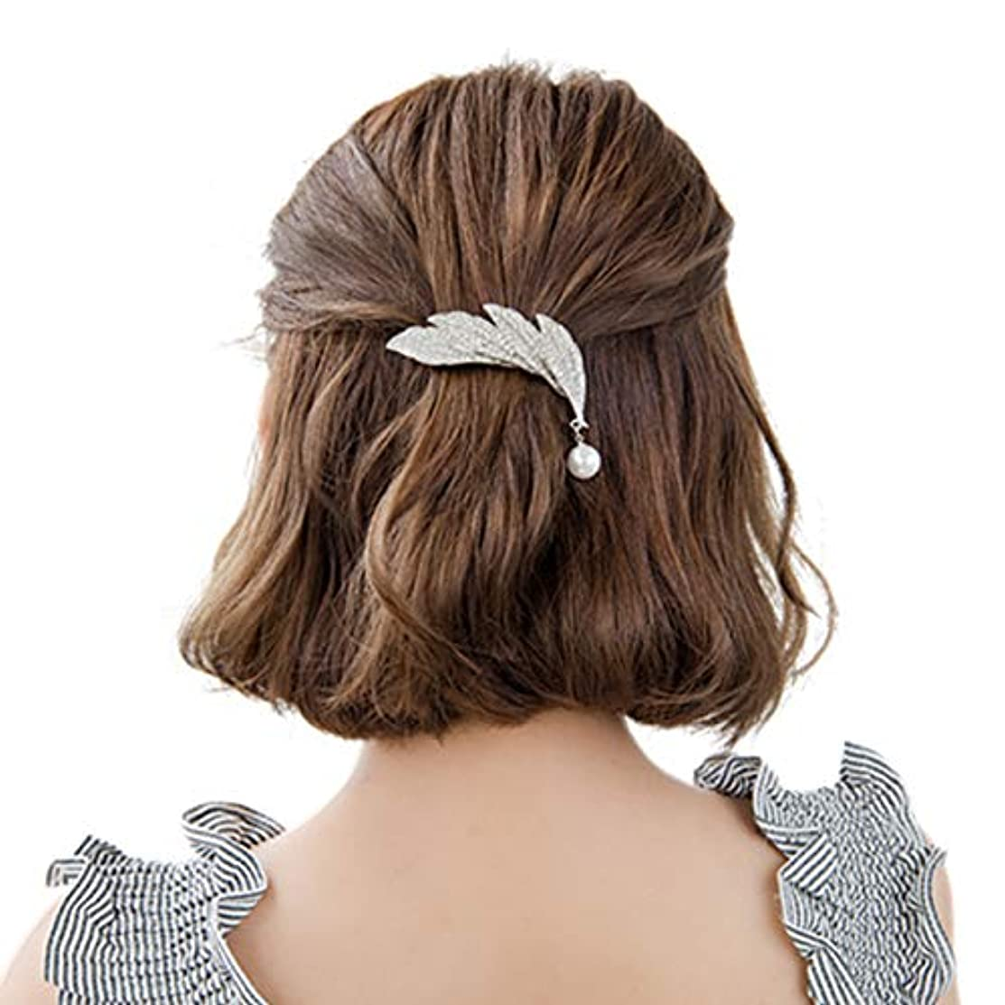 Wildy CCA Leaf Hairpin- Elegant Shiny Silver-Crystal Artificial Pearl-Hair Pendant- Metal Jewelry- Women's Hair
