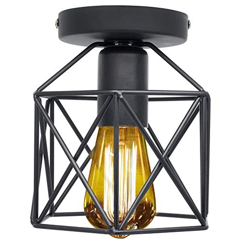 Retro Vintage Flush Mount Ceiling Light Fixture, Black Industrial Light Fixture for Entryway Hallway Bedroom Kitchen Stairway Porch with E26 Socket.