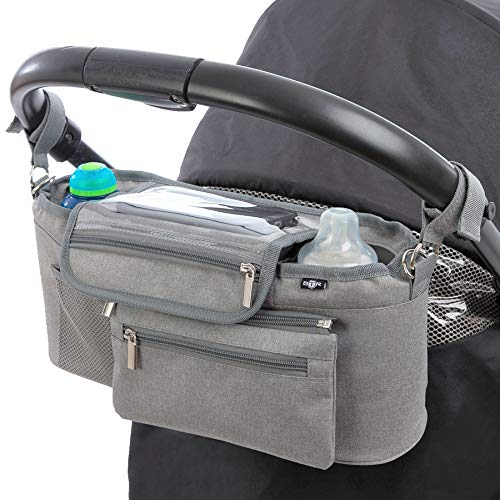BTR Kinderwagen Organizer und Buggy Organizer oder Aufbewahrungstasche mit Reißverschlusstasche und Geldbeutel. Baby Kinderwagentasche, Organizer Kinderwagen PLUS Kinderwagen Clips x 2