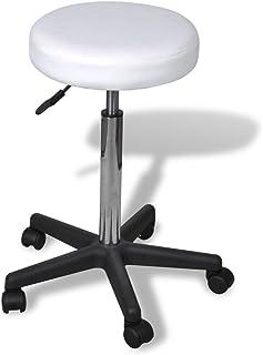 vidaXL Tabouret de Bureau Blanc Tabouret à roulettes Chaise de Bureau Maison