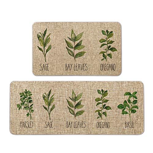 Artoid Mode Parsley Sage Oregano Basil Bay Leaves Decorative Kitchen Mats Set of 2, Seasonal Holiday Party Low-Profile Floor Mat for Home Kitchen - 17x29 and 17x47 Inch