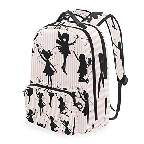 hangong Set Little Fairy Silhouettes,School Backpack with Removable Pencil Case, 2 in 1 Travel Daypack Fits 15 Inch Laptop for Girls or Boys