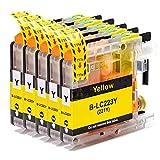 Cartucho de tinta Brother LC223 compatible con Brother DCP-J4120DW DCP-J562DW MFC-J480DW J680DW J880DW J4420DW J4620DW J5320DW J5620DW J5720DW (5 amarillo)