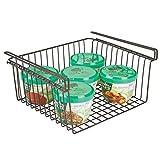mDesign Estante de cocina colgante de metal resistente – Cesta metálica para cocina y despensa – Robusta cesta colgante para alimentos y utensilios de cocina – color bronce