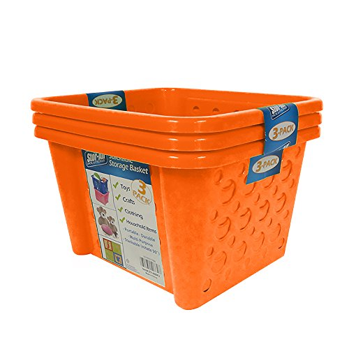 Stor-All Solutions Baskets Stackable Home Storage Bin, Small, Orange, 3 Piece