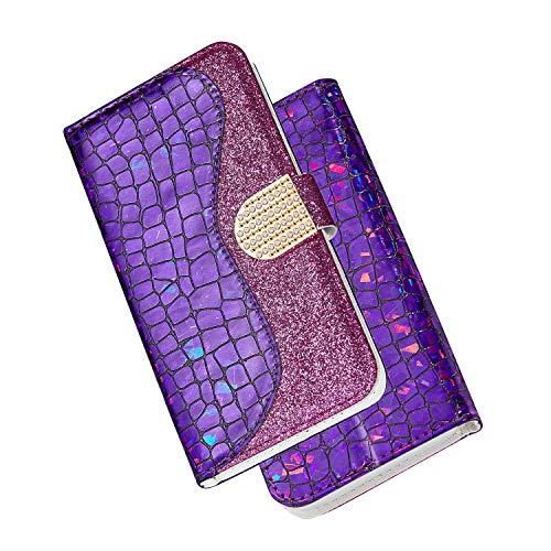 FNBK Kompatibel mit Hülle Samsung Galaxy S9 Handyhülle Glitzer Leder Tasche Diamant Soft Shell Schutzhülle Wallet Flip Case Stoßfest Brieftasche Kratzfest Backcover Kartenhalter Stand Handytasche,Lila