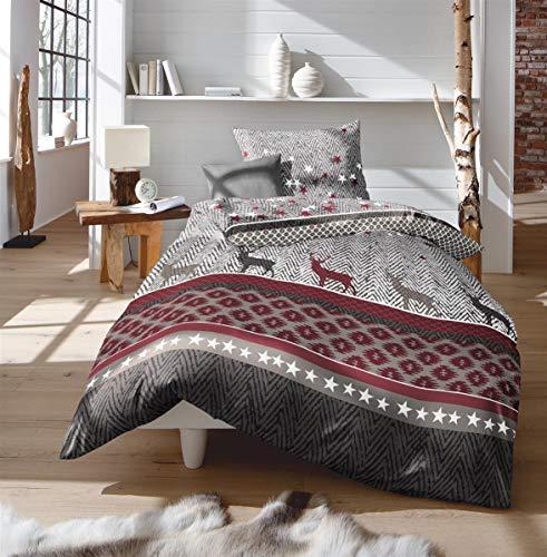 Fleuresse Feinbiber Winter Bettwäsche 200x220 cm Hirsch Sterne grau rot 133880-4